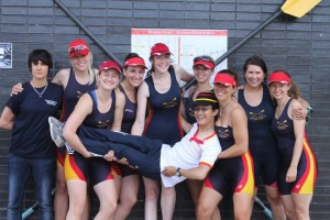 Will Allen (cox) celebrates with the Women's First Eight after Summer Eights 2011.