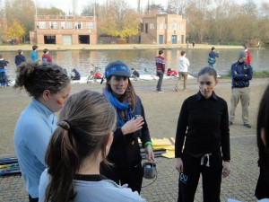 Susan Graham (cox) discusses race strategy before Nephthys Regatta 2011.