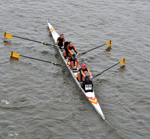 """Wolfson women compete in Head of the River Fours 2010 in """"Bernard Henry"""".  From bow: Aurélie Cuénod, Judith Scheele, Nanda Pirie, Megan Robb, and cox Lamorna Newcombe."""