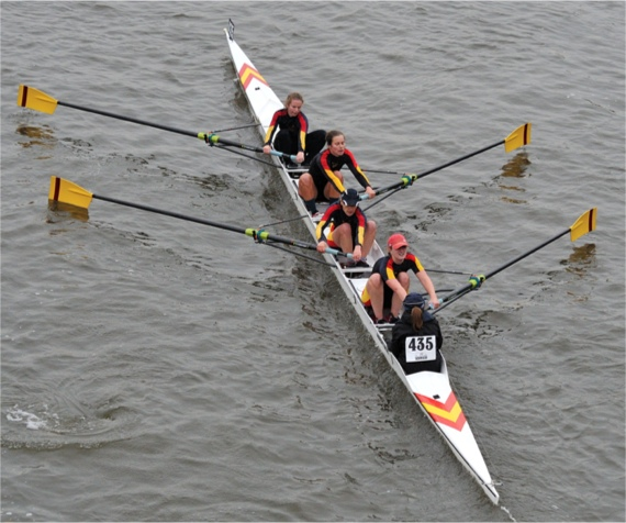 WCBC women performing strongly at the Head of the River Fours race, November 2010 (From bow to stern: Aurélie Cuénod, Judith Scheele, Nanda Pirie, Megan Robb, cox Lamorna Newcombe)