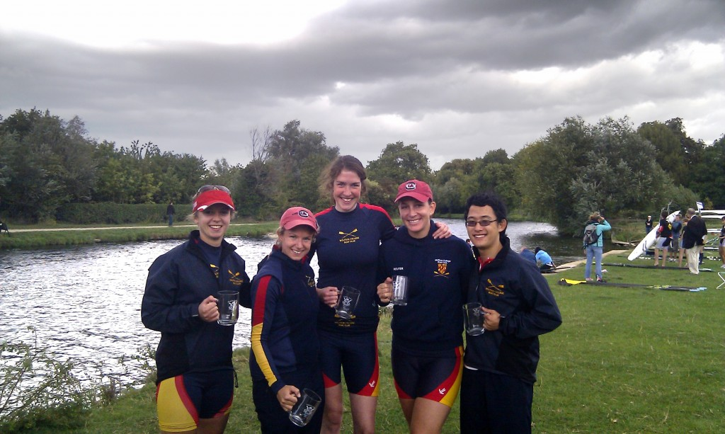 Victorious Women's IV at Cambridge Autumn Regatta 2011.  L to R: Jill Betts, Aurelie Cuenod, Dieuwertje Kooij, Will Allen