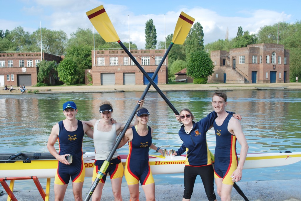 Mixed 4+ celebrates after Oriel Regatta 2014  L to R: Jack Hornsby, Miriam Driessen, Nicky Huskens, Stefany Wragg, Thomas Aarholt