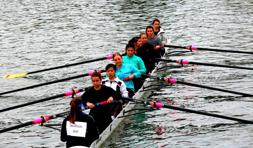 Women's novice boat competes in Christ Church Regatta 2013. (Left to right: Laura Hawkins, Mickaela Nixon, Anny Li, Kim Wilkinson, Irene Milana, Kelsey Murrell, Amelie Hartmann, Katie Rickard, Claudia Vadeboncoeur. Photographer: Akash Verma)