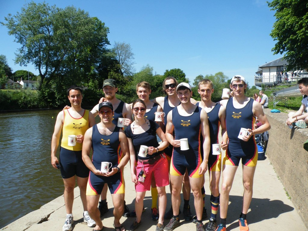 WCBC men's first boat win pots at Worcester Regatta. (Back row, from left: John McManigle, Thomas Aarholt, Jasper Barth, James Simpson, Gido Van de Ven, James Kirkbride; front row, from left: Neil Dhir, Stefany Wragg, Jack Hornsby; photo credit: Jack Hornsby).