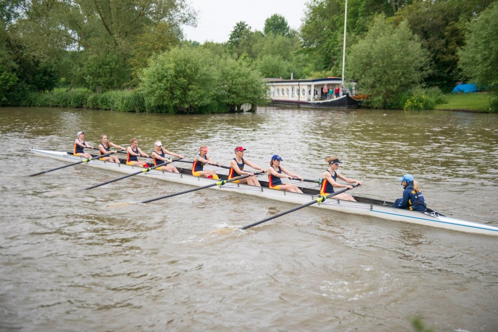 The women's first boat race in Summer Eights. (From left to right: Heather Harrington, Laura Hawkins, Sofia Hauck, Alexandra Bridges, Nicky Huskens, Elo Luik, Cynthia Eccles, Miriam Driessen, Sarah Johnson; photo credit: Glenn Wong).