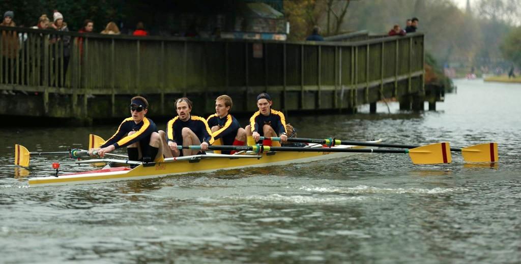 Men's 4+ competes in Cambridge Winter Head 2014.  Str: Thomas Aarholt, James Simpson, Gido Van de Ven, Jasper Barth.  Cox: Edward Mills