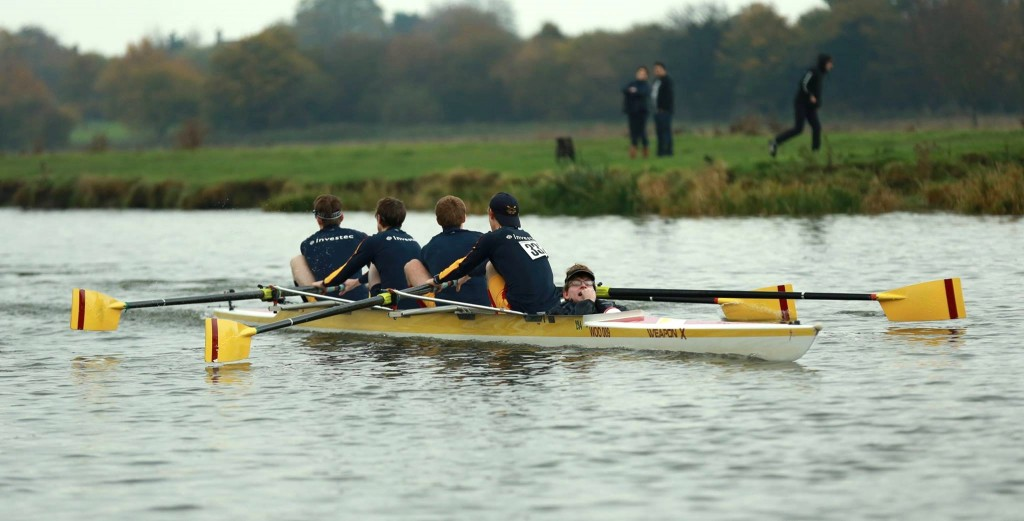 Edward Mills coxes a men's 4+ in Cambridge Winter Head 2014