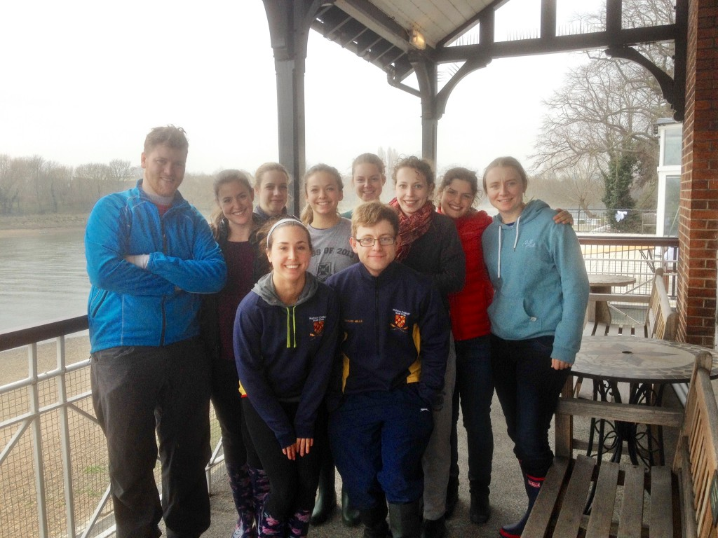 Warming up at Quintin after the race. Back row, from left: Tom Chapman (coach), Jessica Dunham, Nicky Huskens, Nikki Kitson, Mickaela Nixon, Claudia Vadeboncoeur, Annie Bochu, Charlotte Diffey. Front row, from left: Anne Coventry, Edward Mills (cox).
